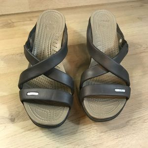 Crocs brown wedge heels size 9